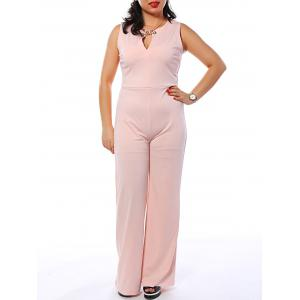 Sleeveless Metallic Trumpet Jumpsuit - PINK XL
