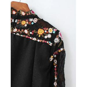 Floral Embroidered Textured Blouse - BLACK L
