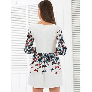 Jacquard Long Sleeve Butterfly Print Mini Dress -