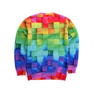 3D Colorful Cube Print Round Neck Long Sleeve Sweatshirt -