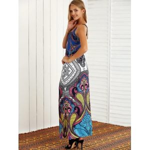 Open Back Tribal Print Maxi Dress -
