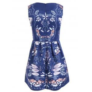 Art Leaf Jacquard Sleeveless Print Dress -