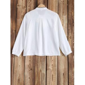 Front Tie Chiffon Long Sleeve Blouse -