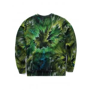 3D Jungle and Einstein Print Round Neck Long Sleeve Sweatshirt - GREEN XL