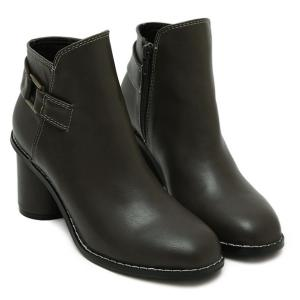 Zipper Dark Colour PU Leather Ankle Boots -