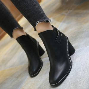 Zipper Dark Colour PU Leather Ankle Boots - BLACK 39
