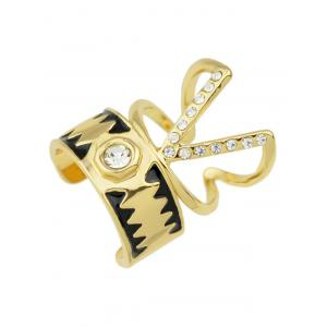 Punk Alloy Rhinestone V-Shaped Cuff Rings - GOLDEN ONE-SIZE