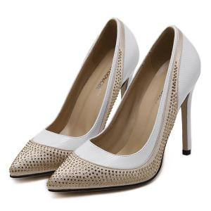 Pointed Toe Colour Splicing Rhinestones Pumps - WHITE 39