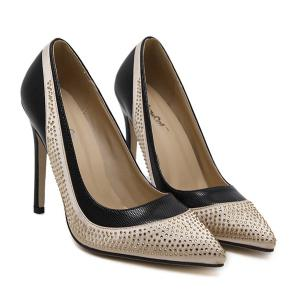 Pointed Toe Colour Splicing Rhinestones Pumps -
