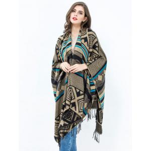 Vintage Geometry Rhombus Open Front Tassel Pashmina Poncho - COFFEE