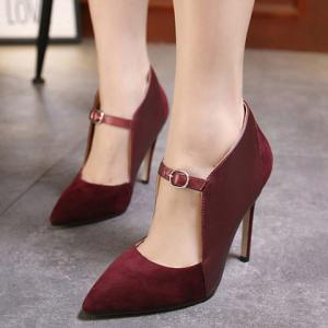 Suede Spliced Pointed Toe Cut Out Pumps - WINE RED 39