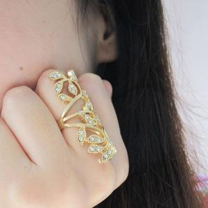 Rhinestone Leaf Hollow Out Full Finger Ring - GOLDEN ONE-SIZE