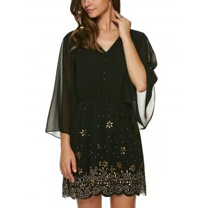 V Neck 3/4 Sleeve Rhinestone Dress - BLACK S
