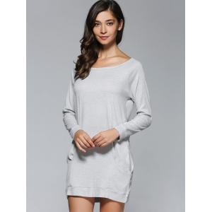Long Sleeves Pocket Design Dress - GRAY XL