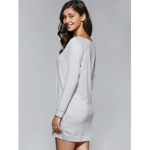 Long Sleeves Pocket Design Dress - GRAY L