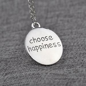 Engraved Choose Happiness Round Friendship Necklace - SILVER