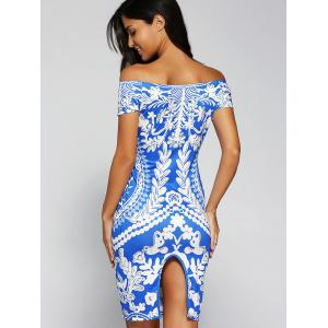 Printed Off The Shoulder Bodycon Dress -