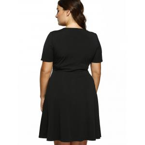 Plus Size Cut Out Fit and Flare Dress - BLACK XL