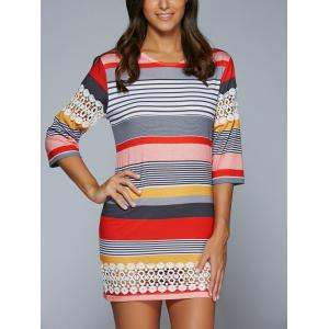 3/4 Sleeve Striped Lace Spliced Mini Shift Dress - COLORMIX S