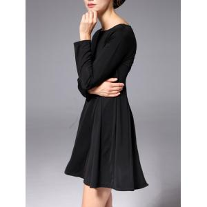 Slash Neck Long Sleeve Stretchy Work A-Line Dress - BLACK 2XL