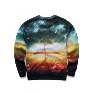 3D Starry Sky and Tree Print Round Neck Long Sleeve Sweatshirt - COLORMIX XL