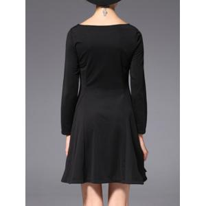 Slash Neck Long Sleeve Embroidered Mini A-Line Dress -