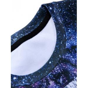 3D Starry Sky and Tiger Print Round Neck Long Sleeve Sweatshirt - COLORMIX XL