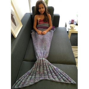 Keep Warm Multi-Colored Knitted Mermaid Tail Design Blanket For Kid - COLORMIX