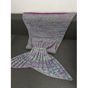 Keep Warm Multi-Colored Knitted Mermaid Tail Design Blanket For Kid -