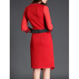 V Neck 3/4 Sleeve Slit Color Block Bodycon Dress - RED M