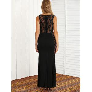 Lace Panel Sheer Maxi Prom Formal Dress -
