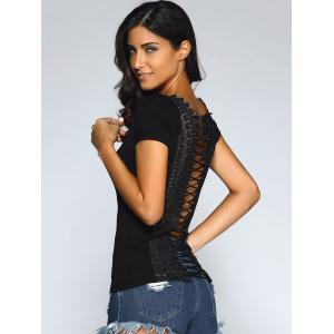 Lace Trim Lace Up T-Shirt - BLACK XL