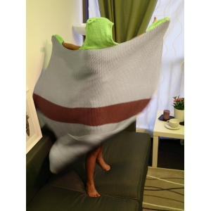 Cartoon Design Color Block Knitted Blanket with Hat For Kid - GRAY