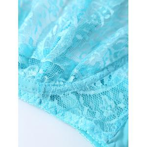 Lace Bra and Thong Panty Set - AZURE ONE SIZE