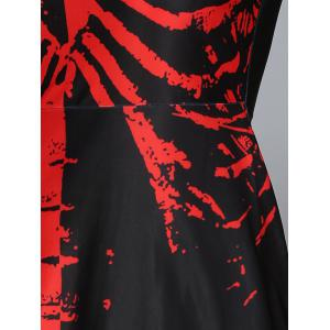 Halloween Skeleton Print Contrast Color Dress -