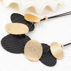 Faux Leather Rope Alloy Oval Necklace -
