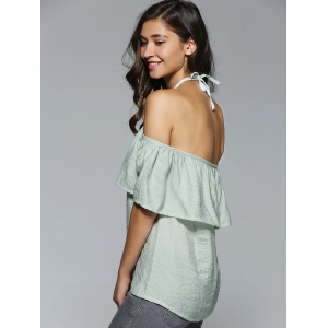 Halter Neck Overlay Backless Blouse -