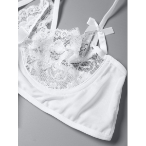 Lace Tie Front Bowknot Strappy Bra Set -