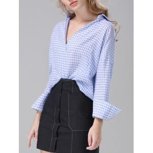 Plaid Loose-Fitting Blouse -