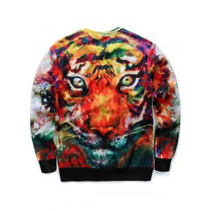 3D Animal Print Long Sleeve Round Neck Sweatshirt - COLORMIX L