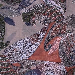 Retro Paisley and Leaf Pattern Voile Scarf -