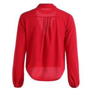Plunging Neck Long Sleeve Blouse -