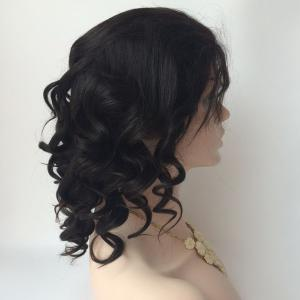 Short Side Bang Loose Wave Lace Front Real Natural Hair Wig -