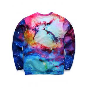3D Print col rond manches longues Galaxy Sweatshirt - Multicolore S