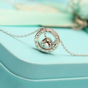 Double Ring Letter Link Chain Pendant Necklace -