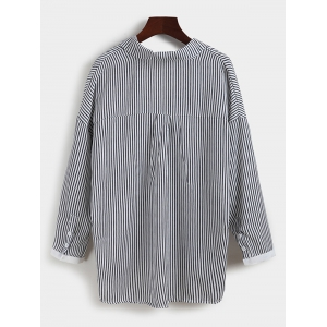 Pinstriped Loose-Fitting Blouse -