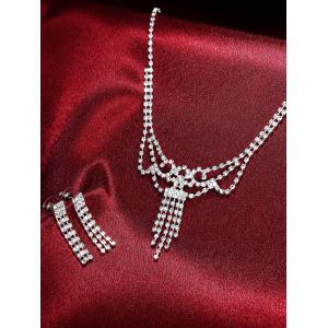 Rhinestoned Hollowed Bridal Jewelry Set - SILVER