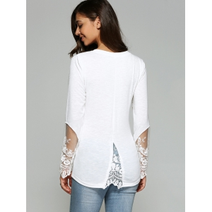 Dovetail Design Long Sleeve Tulle Spliced Blouse -