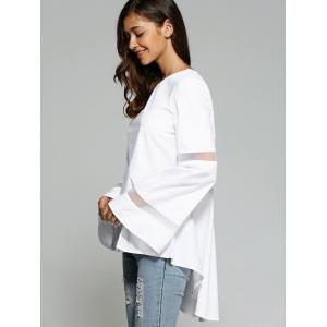 Bell Sleeve Mesh Spliced Dovetail Blouse -