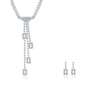 Layered Geometric Rhinestone Wedding Jewelry Set - SILVER
